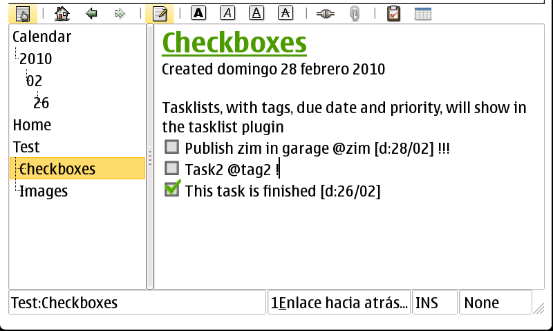 Page with checkboxes for tasklist